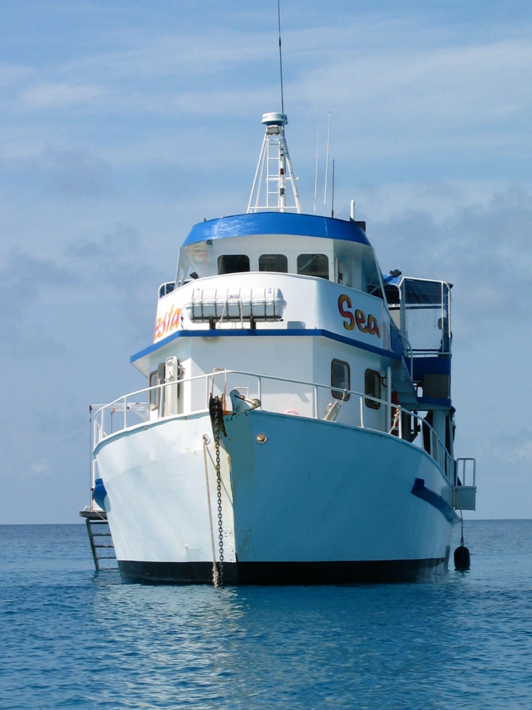 front on shot of MV SeaEsta while she is anchored on the Great Barrier Reef