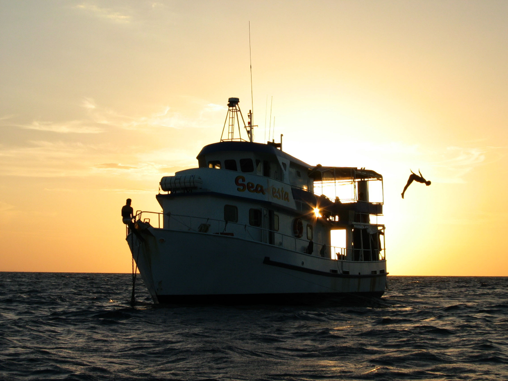 MV SeaEsta with the sun setting behind it into the horizon, one passenger sitting at the bow and one passenger diving off the deck into the water