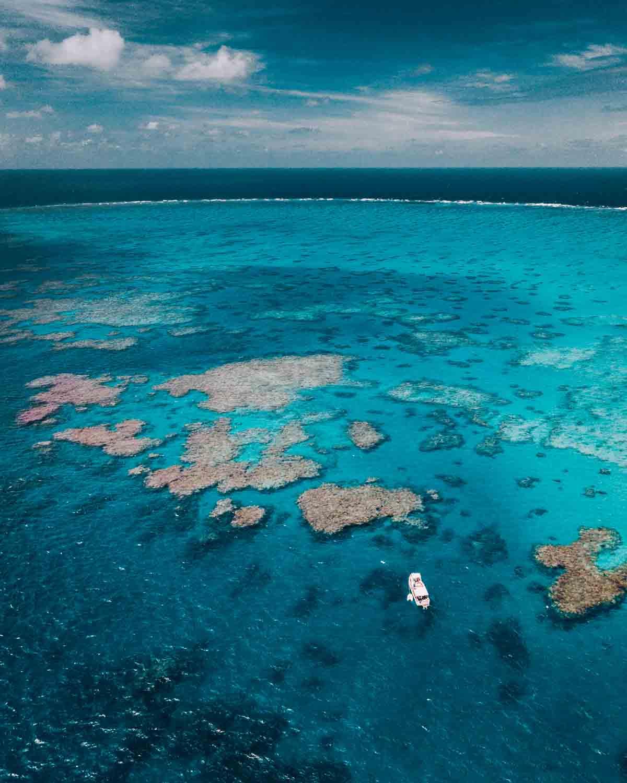 Birdseye view of MV Adrenalin anchored at Lodestone Reef