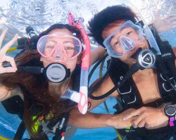 scub divers in a pool
