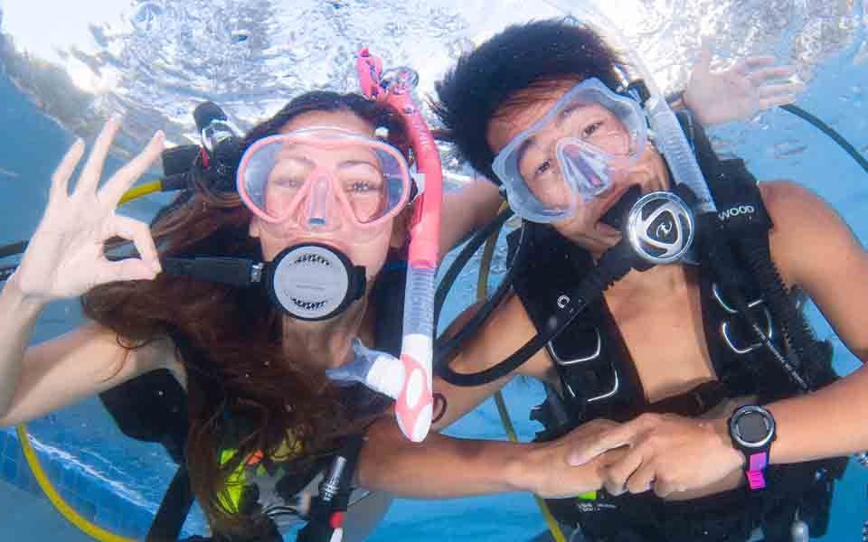 scub divers in a pool