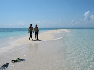 a couple holding hands walking along the sands of wheeler cay