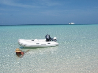 passenger relaxing on wheeler cay by the tender with mv seaesta far in the background