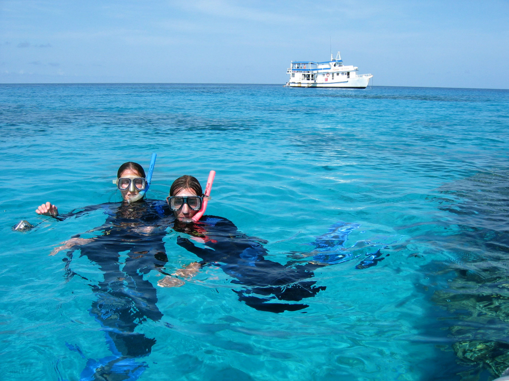 Snorkellers floating on the surface of the water with MV SeaEsta in the background