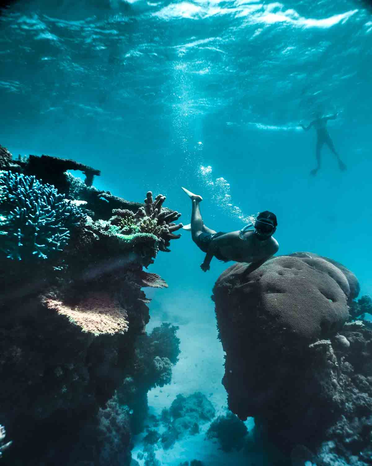 male snorkeller underwater swimming through two coral reef structures