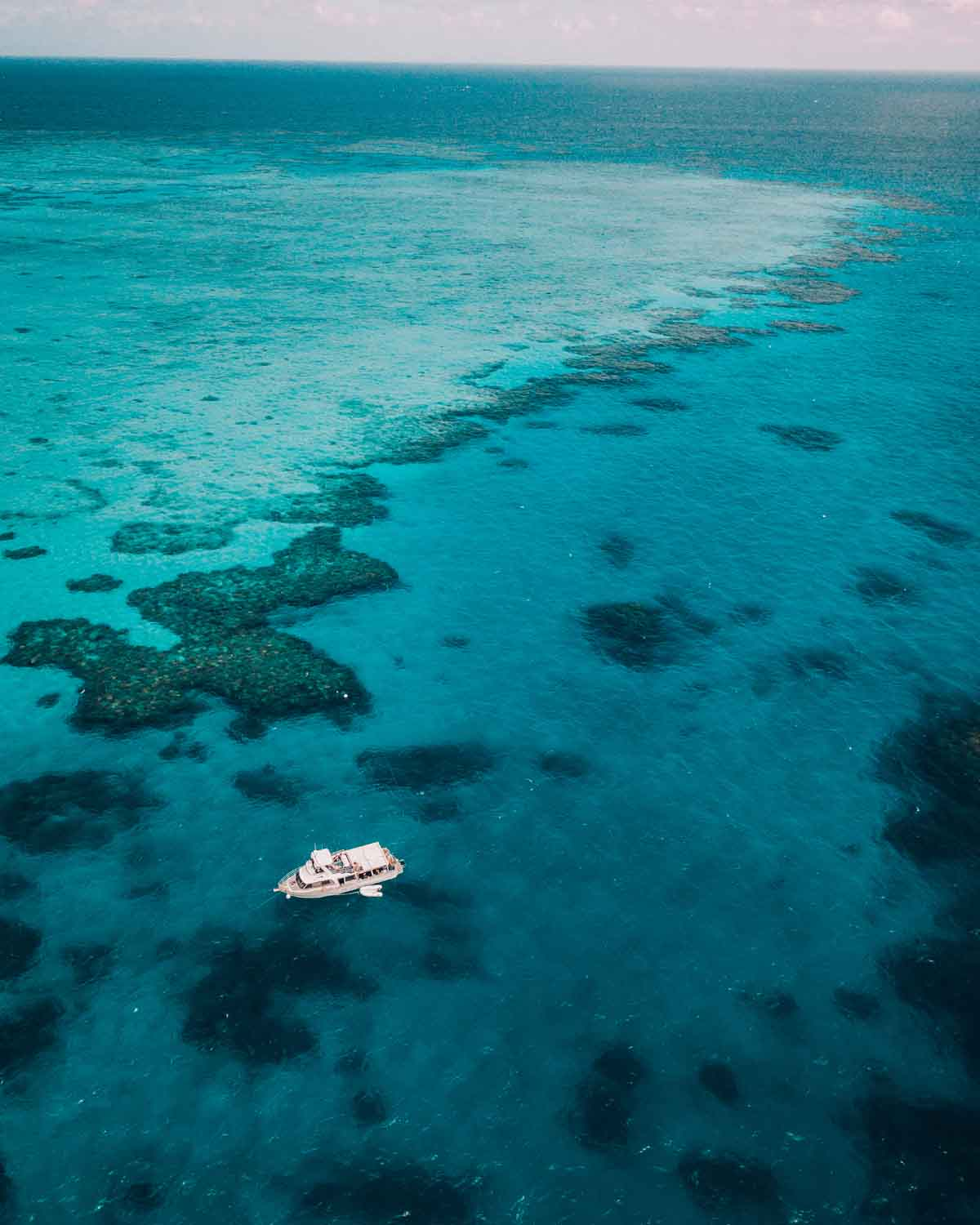 Aerial view of MV Adrenalin driving on the water towards Lodestone Reef