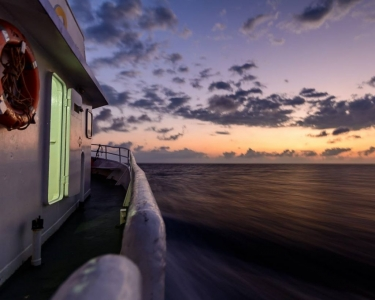 photo taken on MV SeaEsta's starboard side whilst she cruises along on the Great Barrier Reef